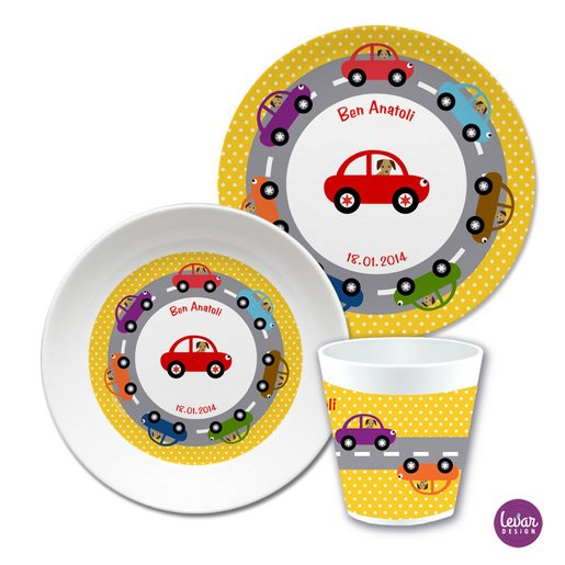 Kindergeschirr Set Autos Dots  |  | Artikelnummer: ki3ersetautos -1