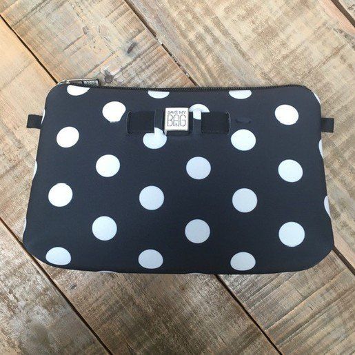 TRAVEL POUCH MEDIUM | POLKA DOTS SCHWARZ | Artikelnummer: SAVE2f