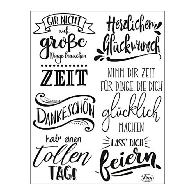 Viva Decor®? Clear-Stamps (Lettering Deutsch) Silikon Stempel - Prägung Stempel - DIY Dekoration stanzen - Stempel Silikon - DIY Stamp - Stempel Prägung - Made in Germany