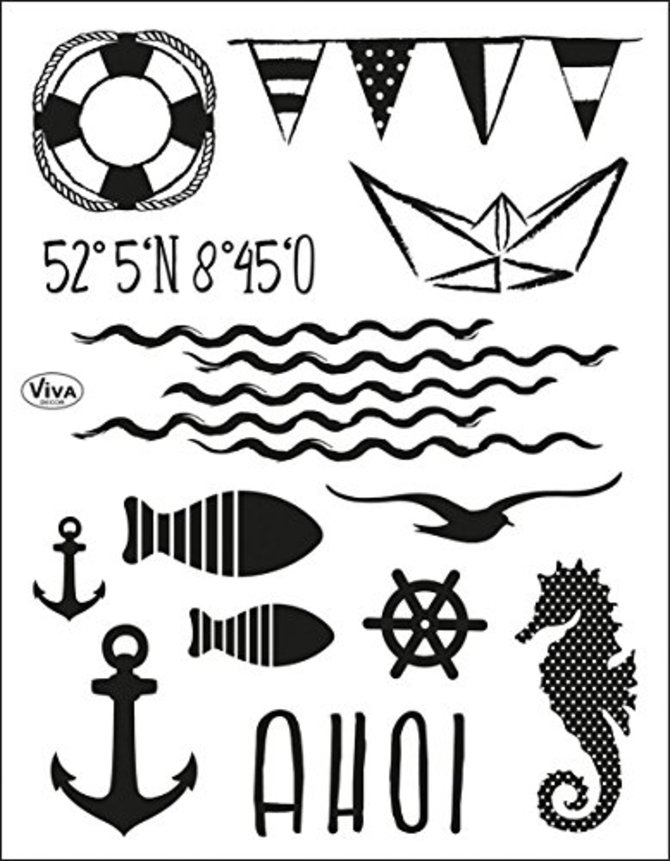Viva Decor®? Clear-Stamps (AHOI) Silikon Stempel - Prägung Stempel - DIY Dekoration stanzen - Stempel Silikon - DIY Stamp - Stempel Prägung - Made in Germany