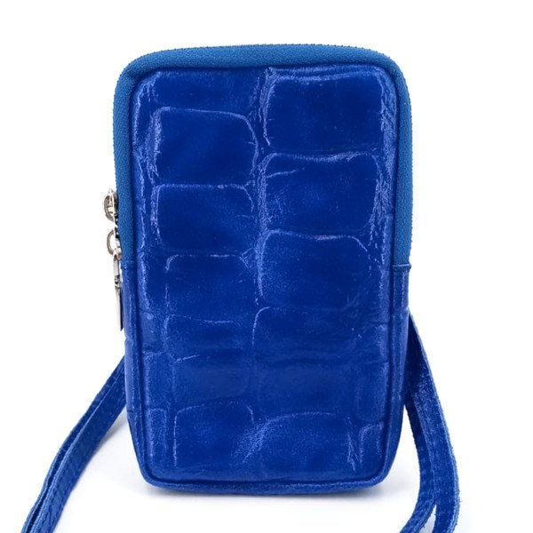 Handytasche in Kroko-Optik, royalblau