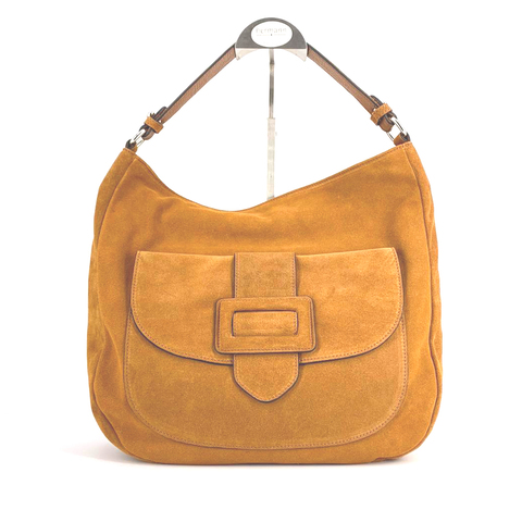 abro Hobo Beuteltasche honey hellbraun Velour