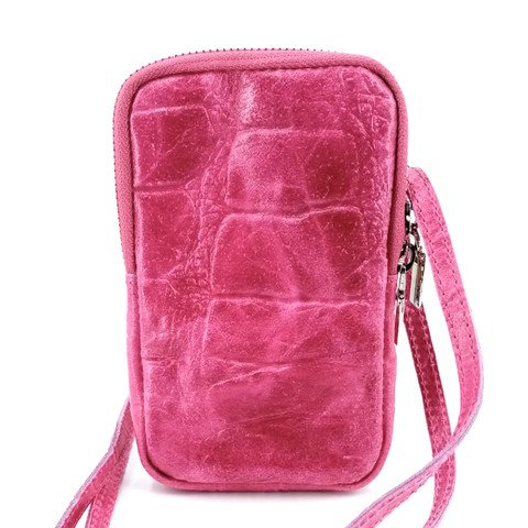 Handytasche in Kroko-Optik, pink