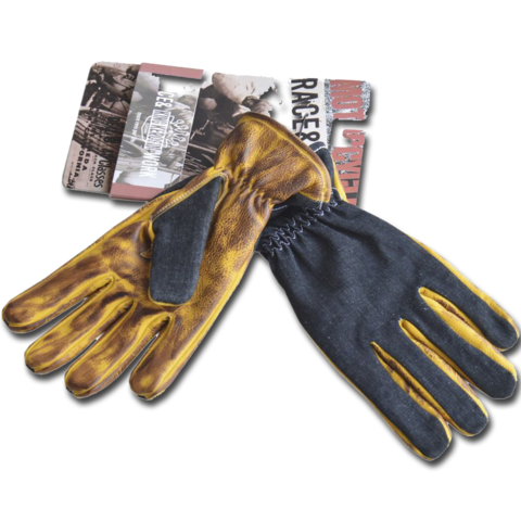 King Kerosin Biker Work Glove Denim To Faded Brown