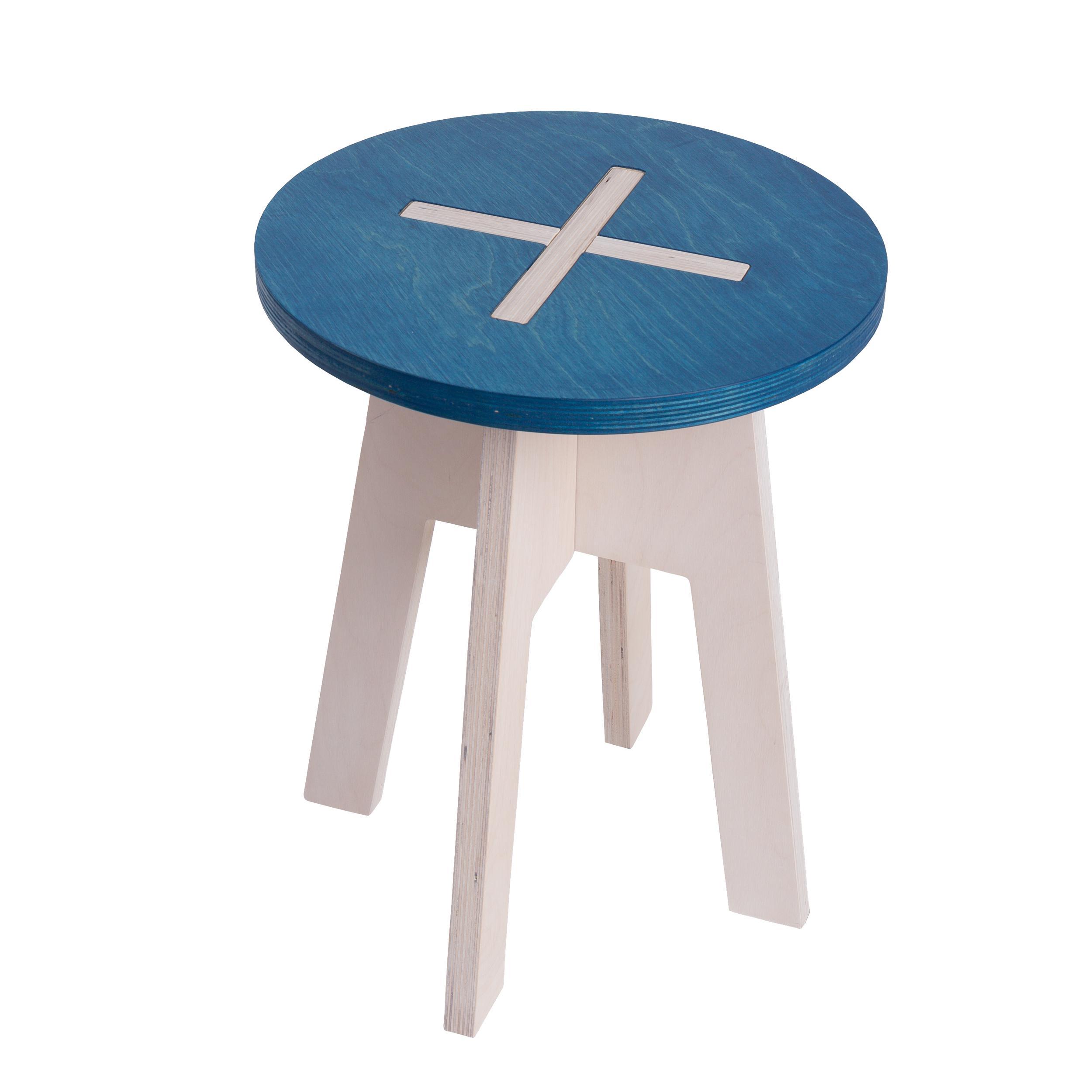 hocker rund aus holz blau wei. Black Bedroom Furniture Sets. Home Design Ideas