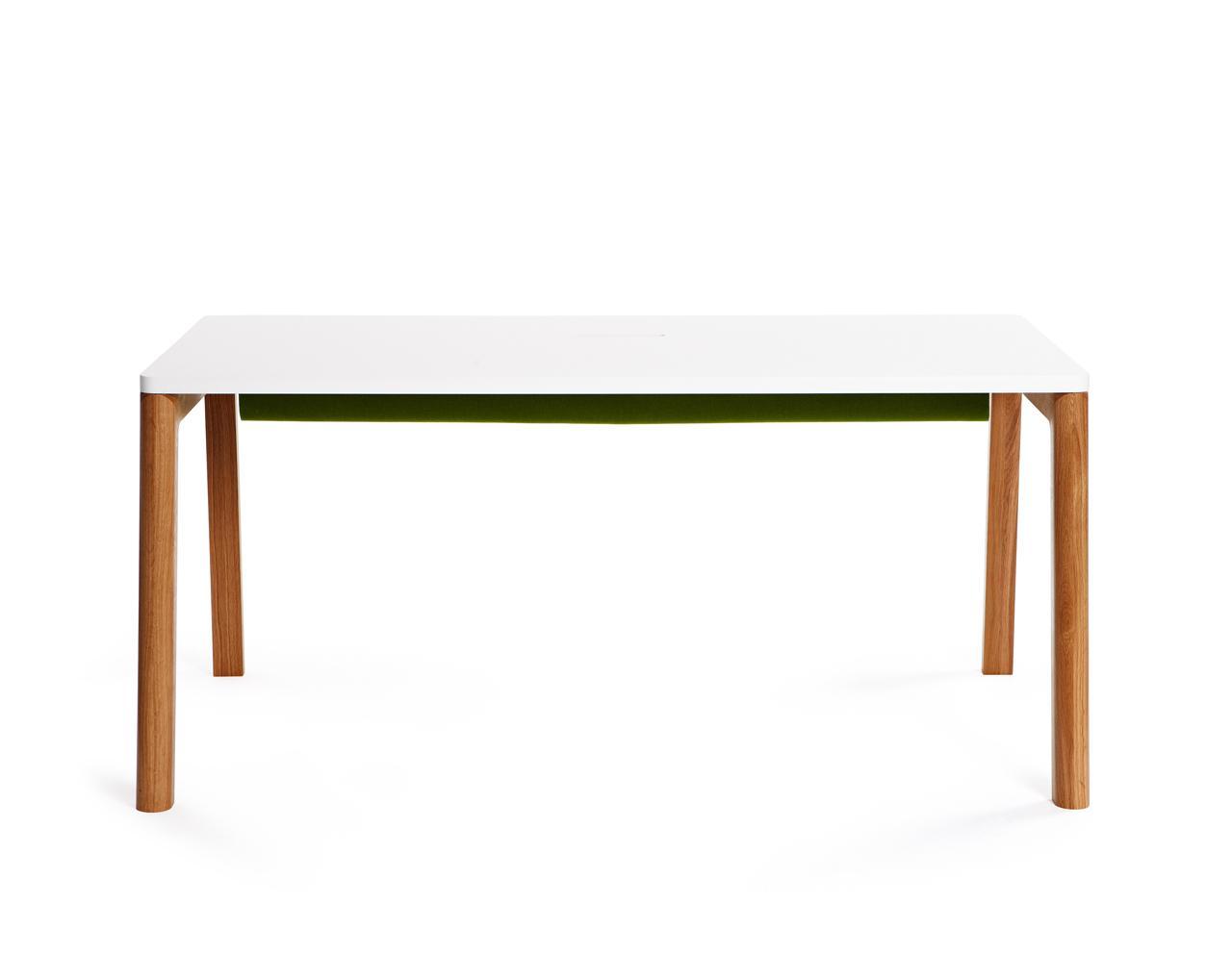 designer schreibtisch in wei und holz 160 cm. Black Bedroom Furniture Sets. Home Design Ideas